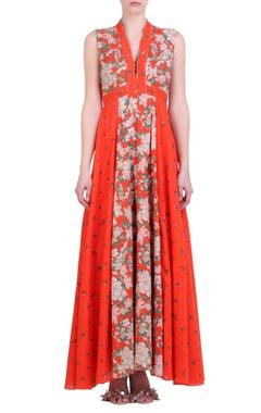 Nikasha Carrot orange cotton bibi jaal printed dress