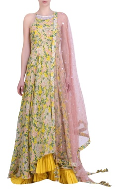 Yellow crepe bibi jaal printed & embroidered halter neck kalidar with churidar & mukaish embroidered dupatta