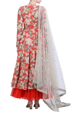 Carrot orange cotton bibi jaal printed embroidered angrakha with embroidered mukaish net dupatta & churidar