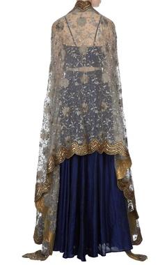 Blue raw silk lehenga with blouse