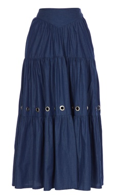 Blue tiered style denim maxi skirt