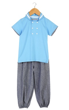 Blue sailor collar t-shirt with jogger pants
