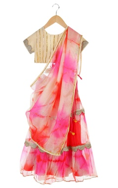 Multicolored tie-dye lehenga with tie-up blouse