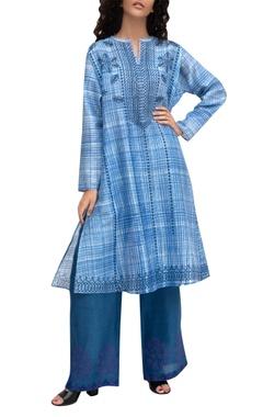 Krishna Mehta Blue chanderi printed tunic