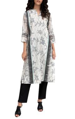 Krishna Mehta White chanderi printed tunic