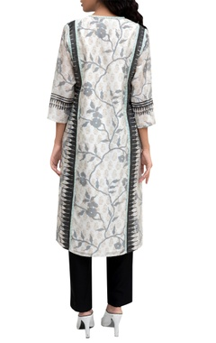 White chanderi printed tunic