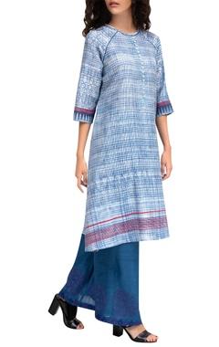 Krishna Mehta Blue chanderi tie-dye tunic