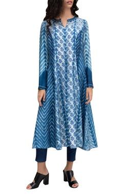 Blue silk tie-dye tunic