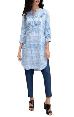 Krishna Mehta Blue viscose printed tunic
