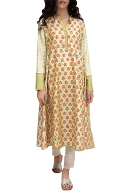 Beige silk block printed tunic