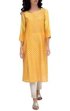Krishna Mehta Orange chanderi block printed tunic