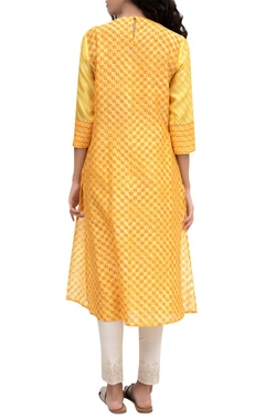 Orange chanderi block printed tunic