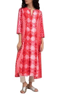 Red silk tie-dye tunic