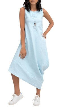 Blue linen draped midi dress