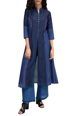 Blue chanderi jacket style center slit kurta