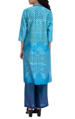 Blue tie-dye chanderi kurta with block printed detailing