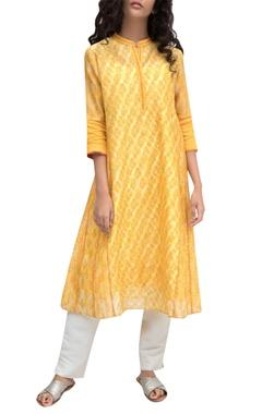 Saffron yellow chanderi tie-dye kurta