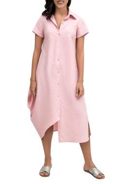 Krishna Mehta Pink linen button down shirt dress
