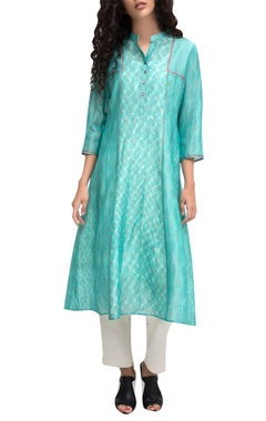 Krishna Mehta Turquoise block printed a-line kurta