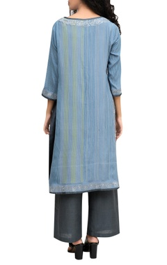 Blue printed tunic with pants
