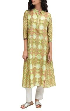 Krishna Mehta Green chanderi printed kurta