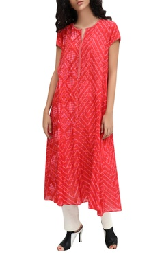 Red chanderi block printed kurta