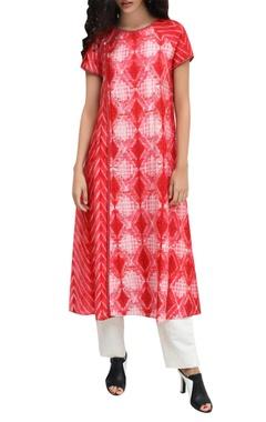 Red silk block printed kurta