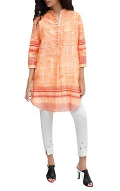 Krishna Mehta Orange chanderi block printed signature hand brushed tunic