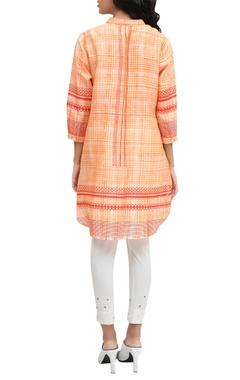 Orange chanderi block printed signature hand brushed tunic