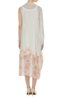 Floral block printed overlap dress with inner