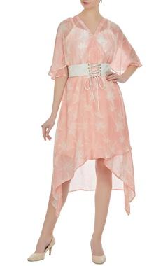Vedika M Block printed floral asymmetric dress with inner