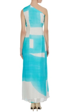 One-shoulder hand painted dress