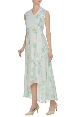 Vedika M Multiprinted sleeveless overlap dress