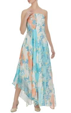Vedika M Block printed & floral hand embroidered asymmetric dress