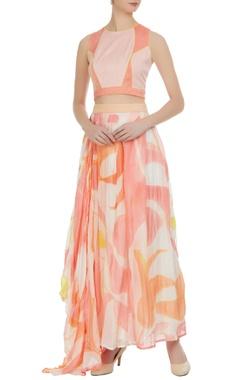 Vedika M Brush painted & hand embroidered draped skirt set