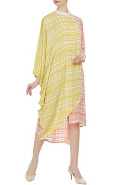 Vedika M Block printed turtleneck collar dress