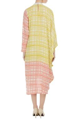 Block printed turtleneck collar dress