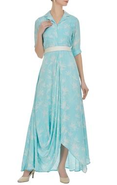 Vedika M Floral block printed cowl dress