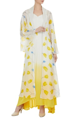 Vedika M Ombre dress with hand painted tulip jacket
