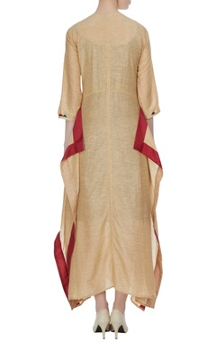 Beige kaftan with colorful french knot motifs & scarf