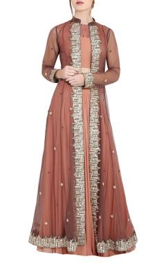 Vedangi Agarwal Peach & brown georgette pipe work & ari technique crop top & skirt with separate long jacket