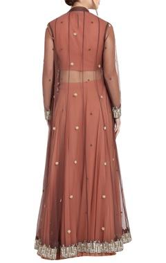 Peach & brown georgette pipe work & ari technique crop top & skirt with separate long jacket