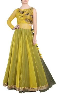 Vedangi Agarwal Yellow & green soft net sequin & ari technique crop top & skirt with angrakha long jacket