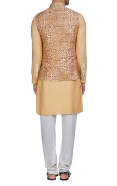 Raw silk multicolored nehru jacket with kurta & pants