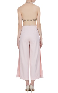 Embroidered top with flared pants