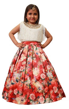 Lil Angels Floral lehenga with fringe embroidered blouse.