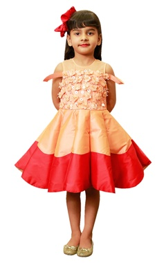 Lil Angels Peach-red CU cut frock with 3D flowers.
