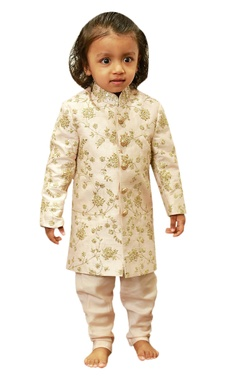 Lil Angels Embroidered sherwani with sequence highlights.