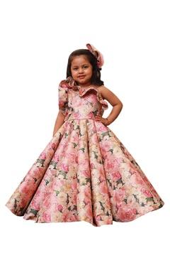 Lil Angels Floral print one shoulder gown.