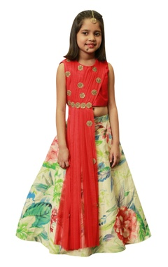 Lil Angels Floral lehenga with draped embroidered blouse